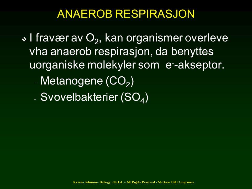 ANAEROB RESPIRASJON  I fravær av O 2, kan organismer overleve vha anaerob respirasjon, da benyttes uorganiske molekyler som e - -akseptor. - Metanoge