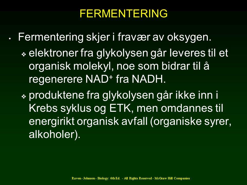 Raven - Johnson - Biology: 6th Ed. - All Rights Reserved - McGraw Hill Companies FERMENTERING Fermentering skjer i fravær av oksygen.  elektroner fra