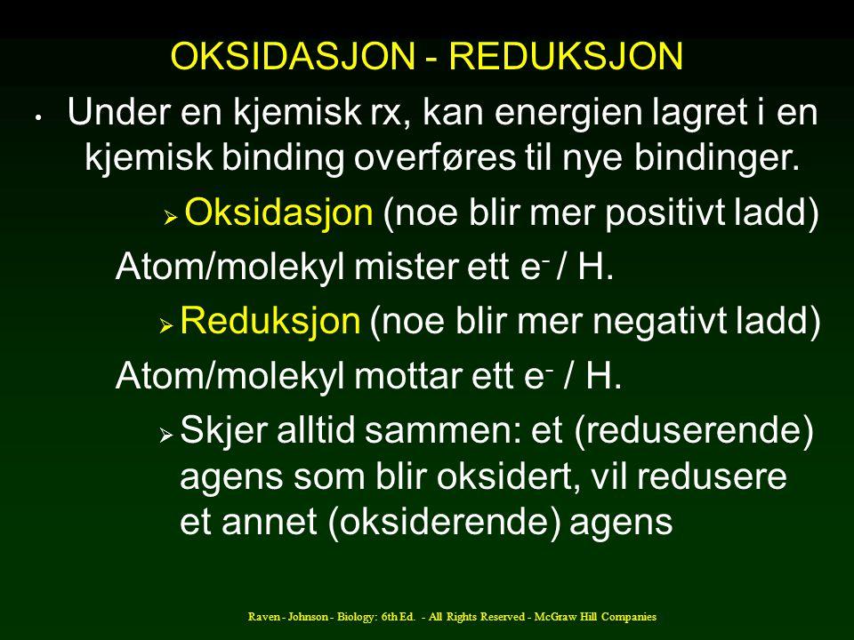 Raven - Johnson - Biology: 6th Ed. - All Rights Reserved - McGraw Hill Companies OKSIDASJON - REDUKSJON Under en kjemisk rx, kan energien lagret i en