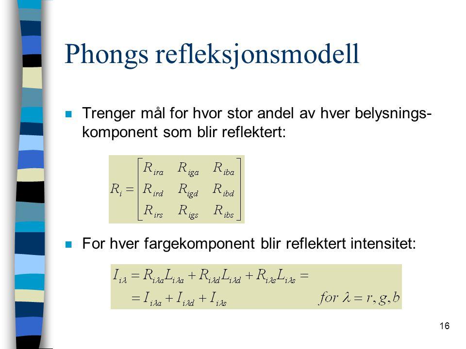 16 Phongs refleksjonsmodell n Trenger mål for hvor stor andel av hver belysnings- komponent som blir reflektert: n For hver fargekomponent blir reflek