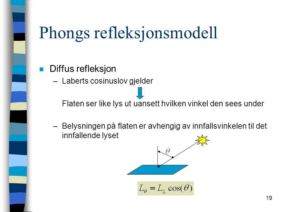 19 Phongs refleksjonsmodell n Diffus refleksjon –Laberts cosinuslov gjelder Flaten ser like lys ut uansett hvilken vinkel den sees under –Belysningen