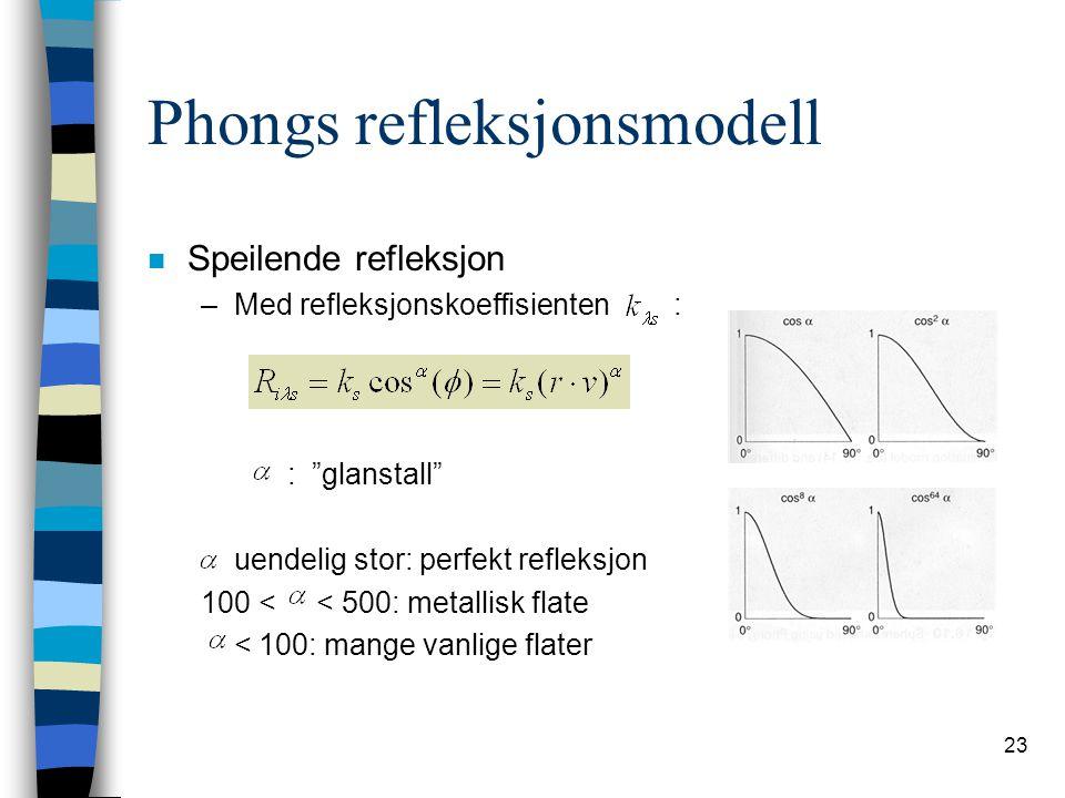 """23 Phongs refleksjonsmodell n Speilende refleksjon –Med refleksjonskoeffisienten : : """"glanstall"""" uendelig stor: perfekt refleksjon 100 < < 500: metall"""
