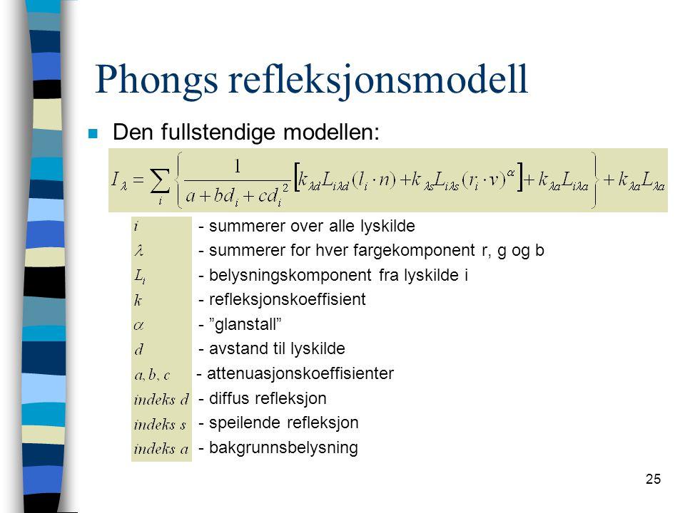 25 Phongs refleksjonsmodell n Den fullstendige modellen: - summerer over alle lyskilde - summerer for hver fargekomponent r, g og b - belysningskompon