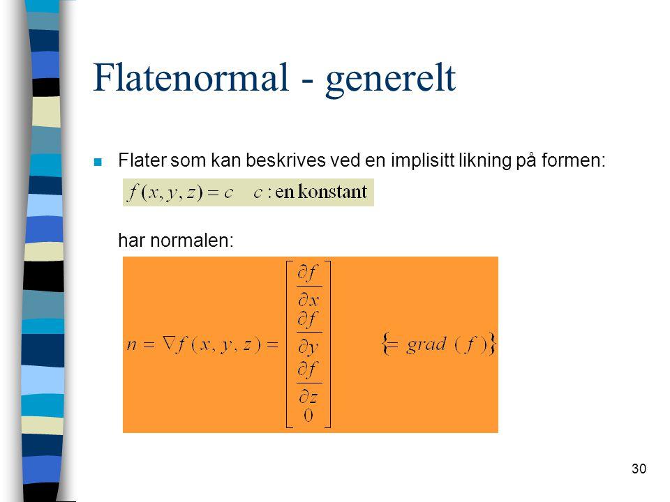 30 Flatenormal - generelt n Flater som kan beskrives ved en implisitt likning på formen: har normalen: