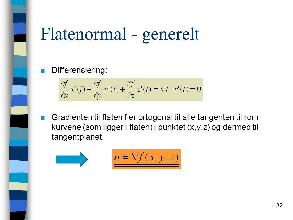 32 Flatenormal - generelt n Differensiering: n Gradienten til flaten f er ortogonal til alle tangenten til rom- kurvene (som ligger i flaten) i punkte