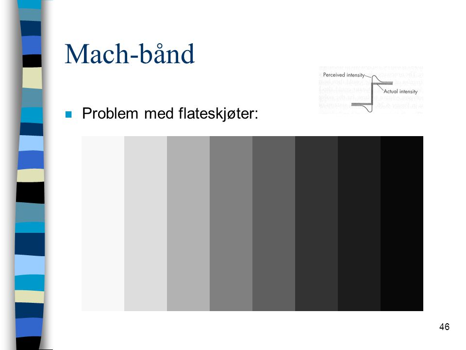 46 Mach-bånd n Problem med flateskjøter: