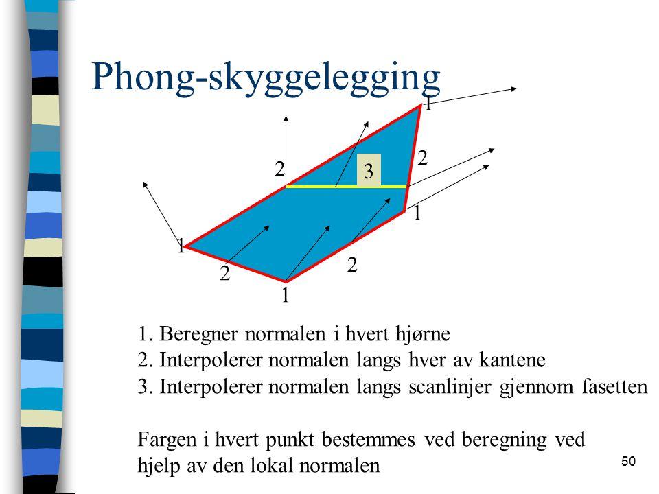 50 Phong-skyggelegging 1 1 1 1 2 2 2 2 3 1. Beregner normalen i hvert hjørne 2. Interpolerer normalen langs hver av kantene 3. Interpolerer normalen l