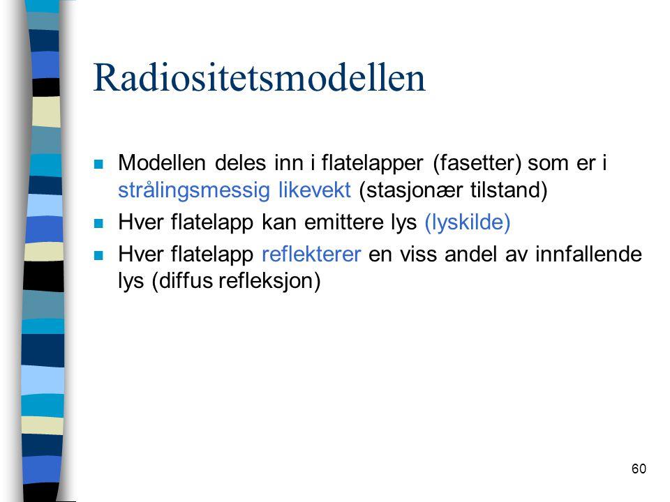 60 Radiositetsmodellen n Modellen deles inn i flatelapper (fasetter) som er i strålingsmessig likevekt (stasjonær tilstand) n Hver flatelapp kan emitt