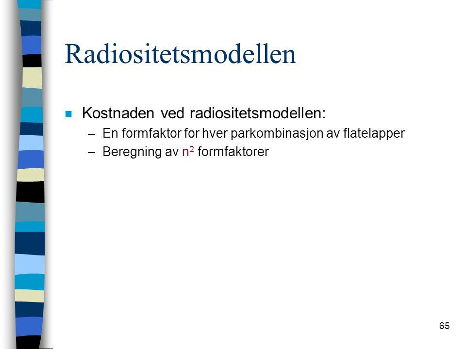 65 Radiositetsmodellen n Kostnaden ved radiositetsmodellen: –En formfaktor for hver parkombinasjon av flatelapper –Beregning av n 2 formfaktorer