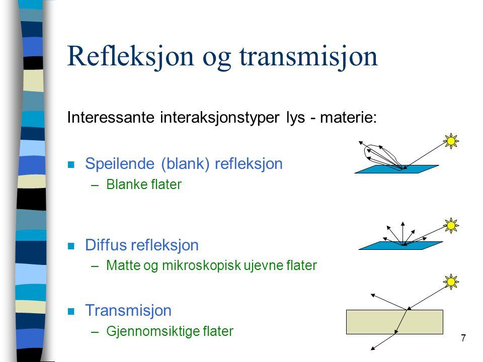 7 Refleksjon og transmisjon Interessante interaksjonstyper lys - materie: n Speilende (blank) refleksjon –Blanke flater n Diffus refleksjon –Matte og
