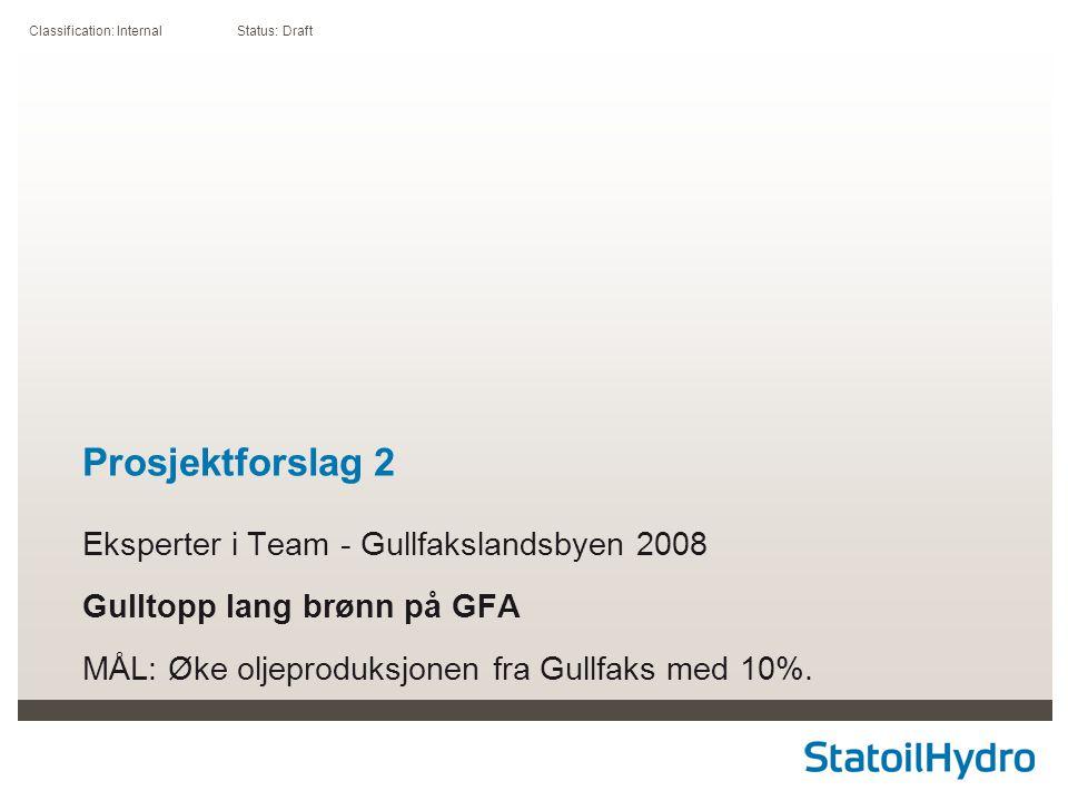 Classification: Internal Status: Draft Prosjektforslag 2 Eksperter i Team - Gullfakslandsbyen 2008 Gulltopp lang brønn på GFA MÅL: Øke oljeproduksjonen fra Gullfaks med 10%.
