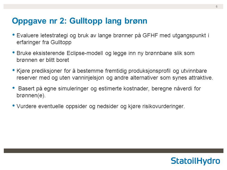 6 Oppgave nr 2: Gulltopp lang brønn Evaluere letestrategi og bruk av lange brønner på GFHF med utgangspunkt i erfaringer fra Gulltopp Bruke eksisteren
