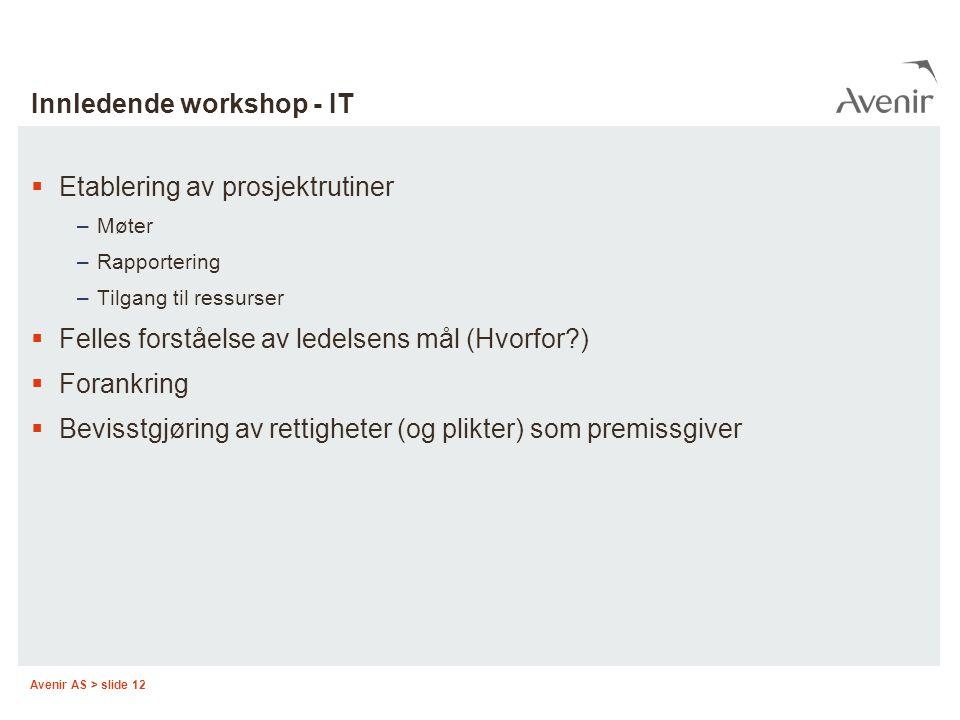 Avenir AS > slide 12 Innledende workshop - IT  Etablering av prosjektrutiner –Møter –Rapportering –Tilgang til ressurser  Felles forståelse av ledel