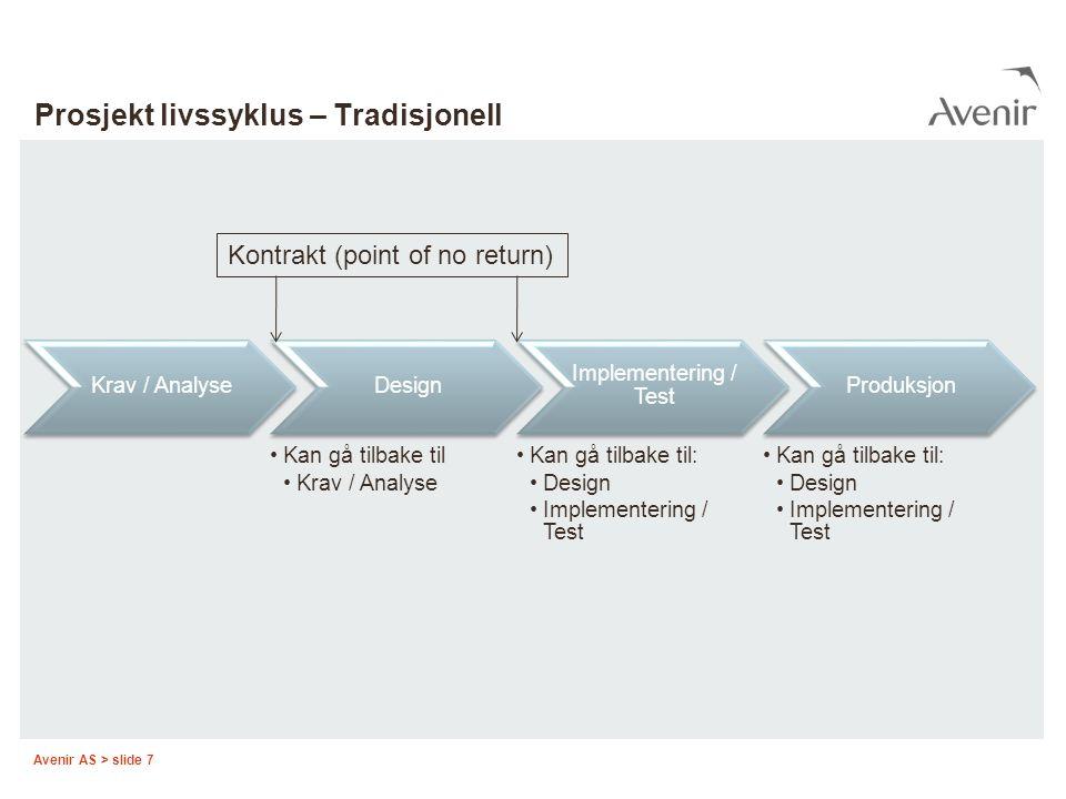 Avenir AS > slide 7 Prosjekt livssyklus – Tradisjonell Krav / AnalyseDesign Kan gå tilbake til Krav / Analyse Implementering / Test Kan gå tilbake til