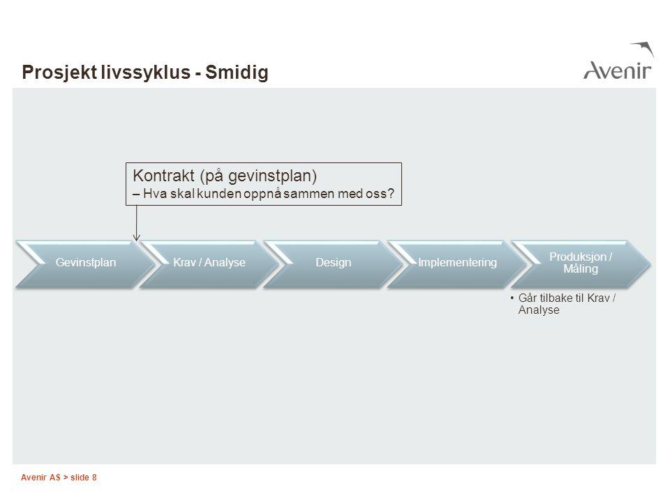 Avenir AS > slide 8 Prosjekt livssyklus - Smidig GevinstplanKrav / AnalyseDesignImplementering Produksjon / Måling Går tilbake til Krav / Analyse Kont