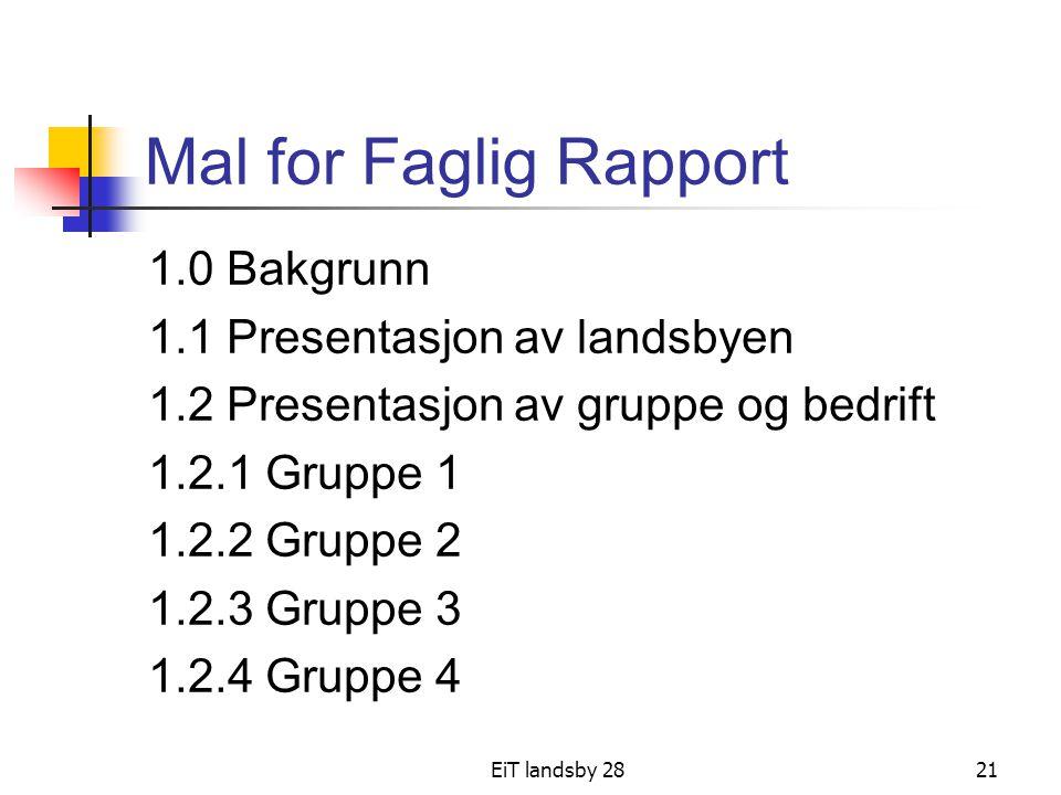 EiT landsby 2821 Mal for Faglig Rapport 1.0 Bakgrunn 1.1 Presentasjon av landsbyen 1.2 Presentasjon av gruppe og bedrift 1.2.1 Gruppe 1 1.2.2 Gruppe 2