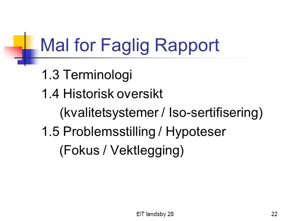 EiT landsby 2822 Mal for Faglig Rapport 1.3 Terminologi 1.4 Historisk oversikt (kvalitetsystemer / Iso-sertifisering) 1.5 Problemsstilling / Hypoteser