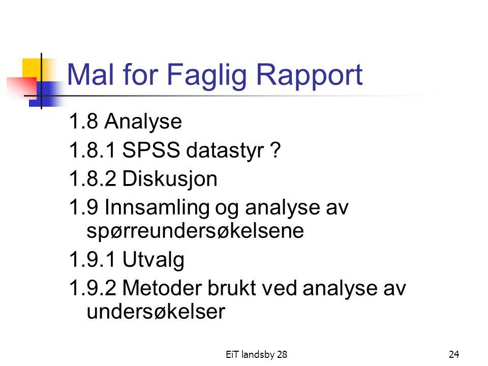 EiT landsby 2824 Mal for Faglig Rapport 1.8 Analyse 1.8.1 SPSS datastyr ? 1.8.2 Diskusjon 1.9 Innsamling og analyse av spørreundersøkelsene 1.9.1 Utva