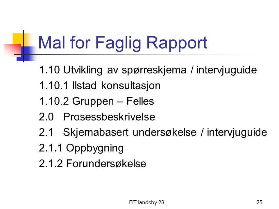 EiT landsby 2825 Mal for Faglig Rapport 1.10 Utvikling av spørreskjema / intervjuguide 1.10.1 Ilstad konsultasjon 1.10.2 Gruppen – Felles 2.0 Prosessb