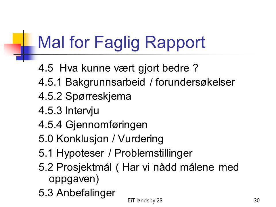 EiT landsby 2830 Mal for Faglig Rapport 4.5 Hva kunne vært gjort bedre ? 4.5.1 Bakgrunnsarbeid / forundersøkelser 4.5.2 Spørreskjema 4.5.3 Intervju 4.