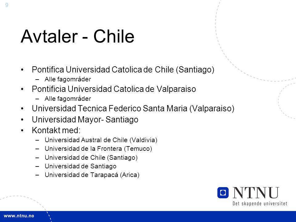 9 Avtaler - Chile Pontifica Universidad Catolica de Chile (Santiago) –Alle fagområder Pontificia Universidad Catolica de Valparaiso –Alle fagområder U