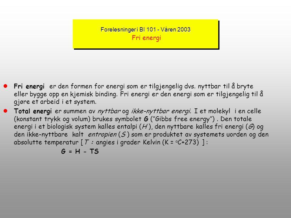 Forelesninger i BI 101 - Våren 2003 Forelesninger i BI 101 - Våren 2003 Termodynamikkens lover lTermodynamikkens 2. lov er knyttet til omformingen til