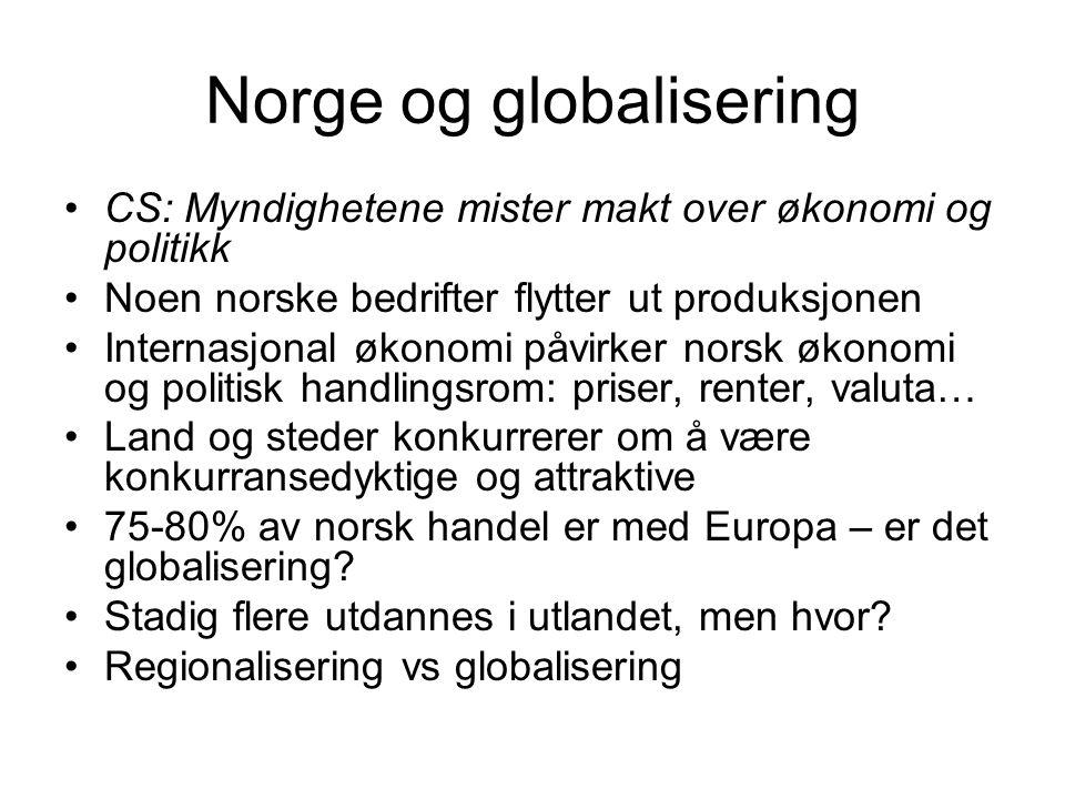 Norge og globalisering CS: Myndighetene mister makt over økonomi og politikk Noen norske bedrifter flytter ut produksjonen Internasjonal økonomi påvir
