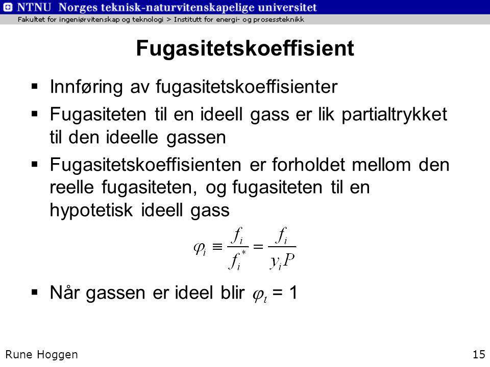 Fugasitetskoeffisient Rune Hoggen15  Innføring av fugasitetskoeffisienter  Fugasiteten til en ideell gass er lik partialtrykket til den ideelle gass