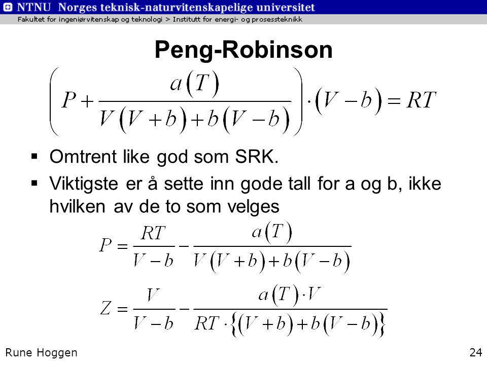Peng-Robinson Rune Hoggen24  Omtrent like god som SRK.  Viktigste er å sette inn gode tall for a og b, ikke hvilken av de to som velges