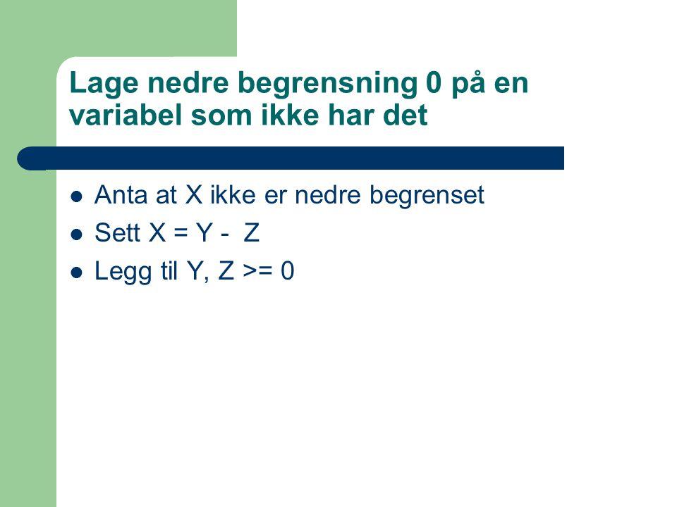 Lage nedre begrensning 0 på en variabel som ikke har det Anta at X ikke er nedre begrenset Sett X = Y - Z Legg til Y, Z >= 0
