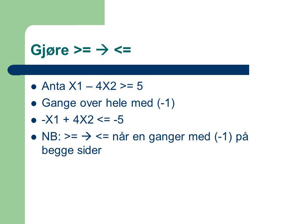 Gjøre >=  <= Anta X1 – 4X2 >= 5 Gange over hele med (-1) -X1 + 4X2 <= -5 NB: >=  <= når en ganger med (-1) på begge sider