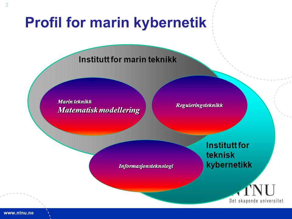 3 Profil for marin kybernetik Marin teknikk Matematisk modellering Reguleringsteknikk Informasjonsteknologi Institutt for teknisk kybernetikk Institut