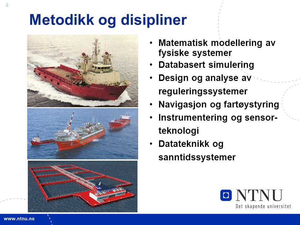 4 Matematisk modellering av fysiske systemer Databasert simulering Design og analyse av reguleringssystemer Navigasjon og fartøystyring Instrumenterin