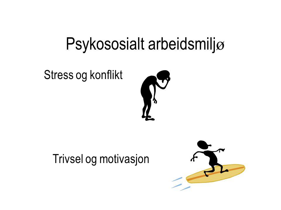 Psykososialt arbeidsmilj ø Stress og konflikt Trivsel og motivasjon