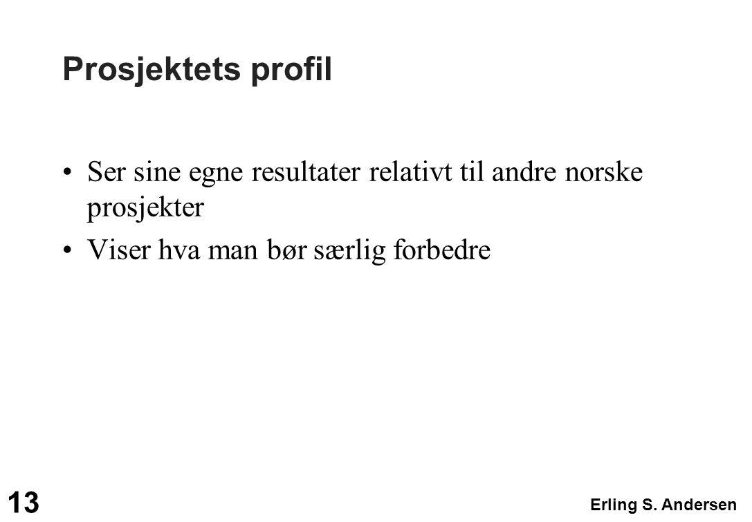 Erling S. Andersen 13 Prosjektets profil Ser sine egne resultater relativt til andre norske prosjekter Viser hva man bør særlig forbedre