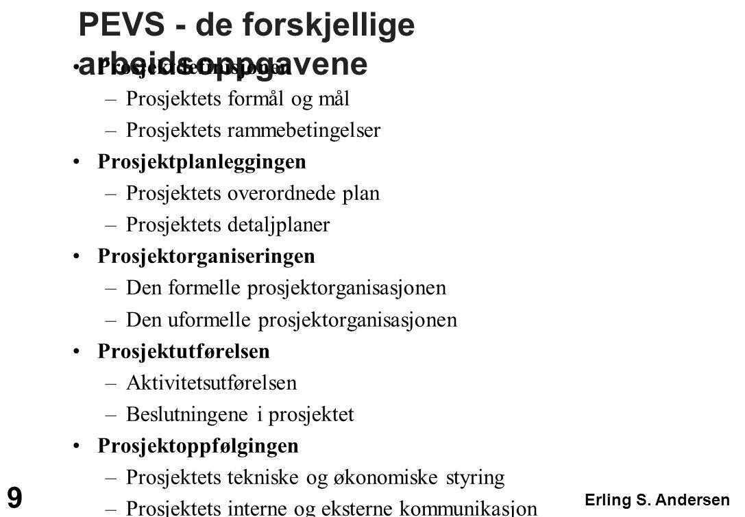 Erling S. Andersen 9 PEVS - de forskjellige arbeidsoppgavene Prosjektdefinisjonen –Prosjektets formål og mål –Prosjektets rammebetingelser Prosjektpla