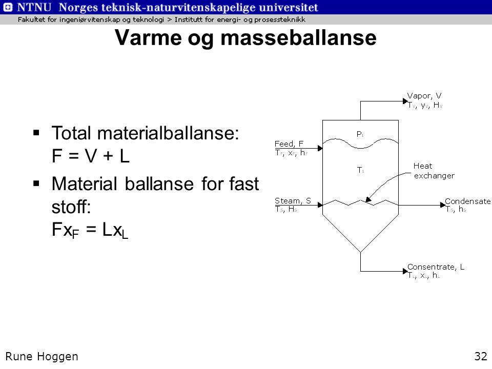 Varme og masseballanse Rune Hoggen32  Total materialballanse: F = V + L  Material ballanse for fast stoff: Fx F = Lx L