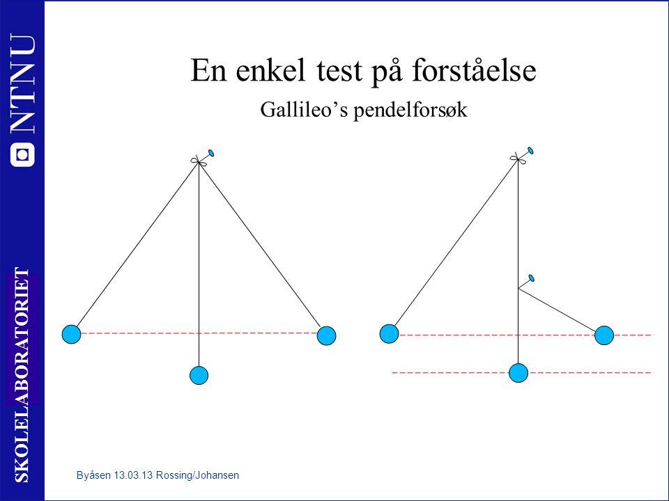10 SKOLELABORATORIET En enkel test på forståelse Gallileo's pendelforsøk Byåsen 13.03.13 Rossing/Johansen