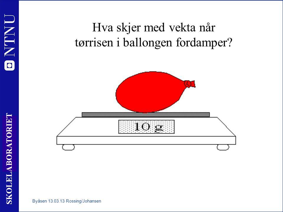 6 SKOLELABORATORIET Hva skjer med vekta når tørrisen i ballongen fordamper? Byåsen 13.03.13 Rossing/Johansen