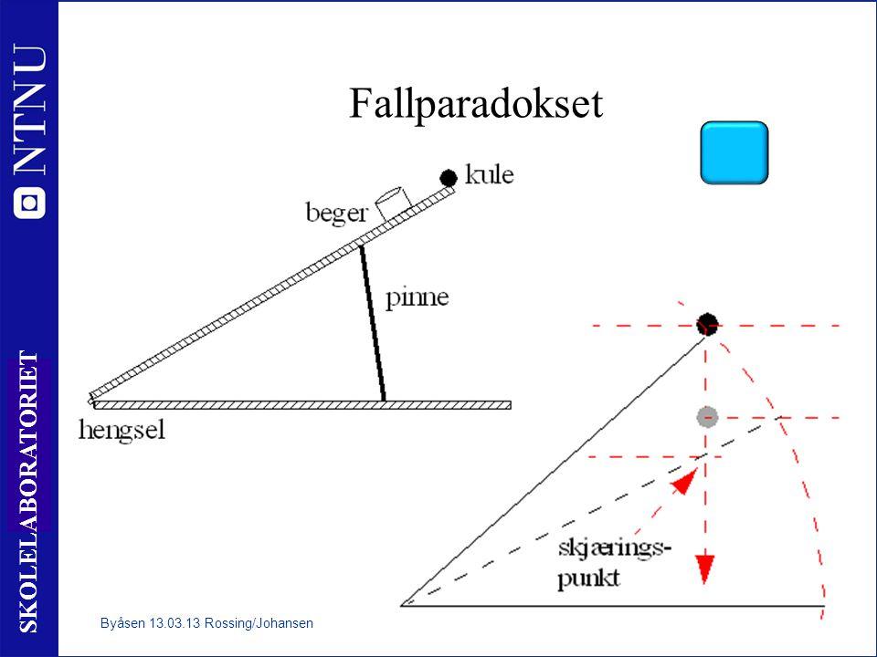 8 SKOLELABORATORIET Kulerullebane Stillingsenergi og bevegelsesenergi Byåsen 13.03.13 Rossing/Johansen