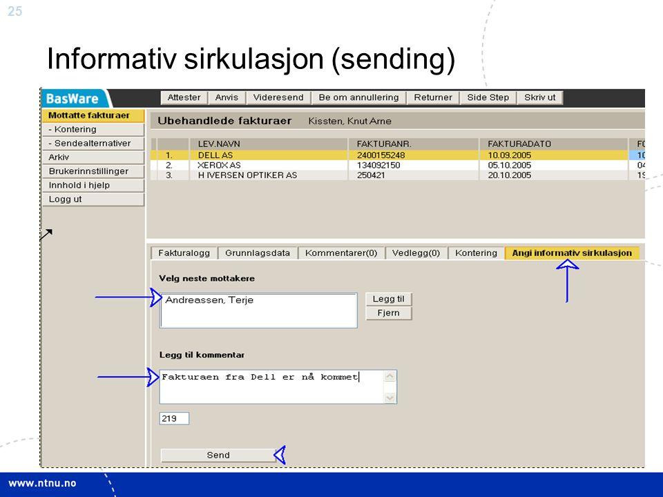 25 Informativ sirkulasjon (sending)