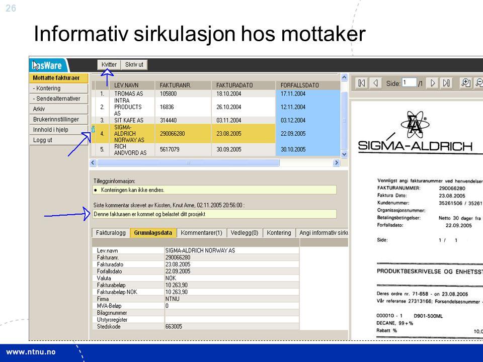 26 Informativ sirkulasjon hos mottaker