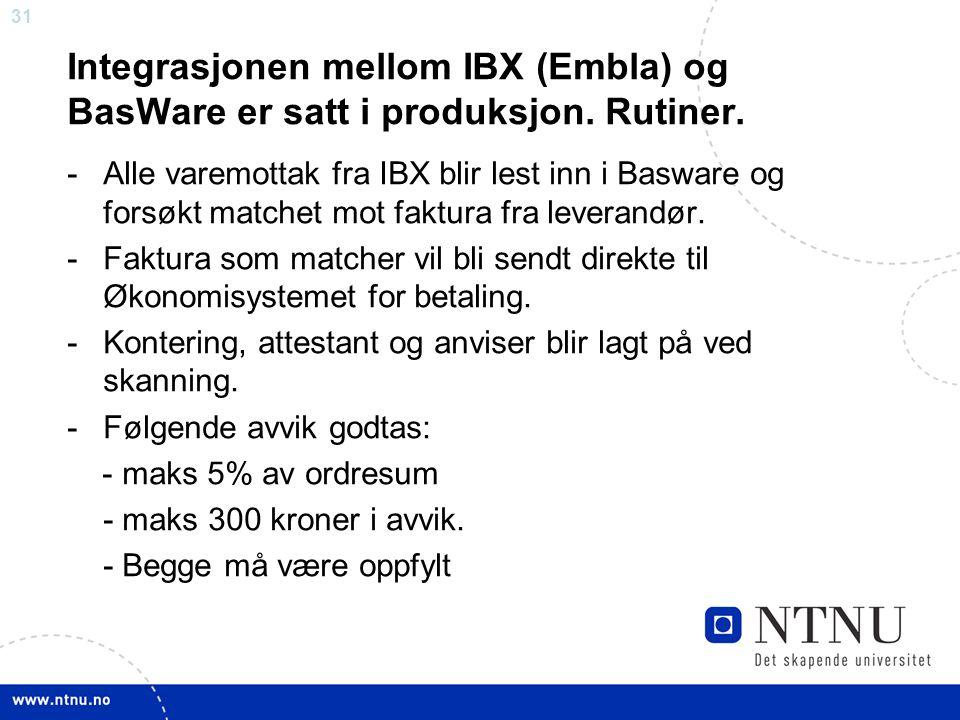 31 Integrasjonen mellom IBX (Embla) og BasWare er satt i produksjon.