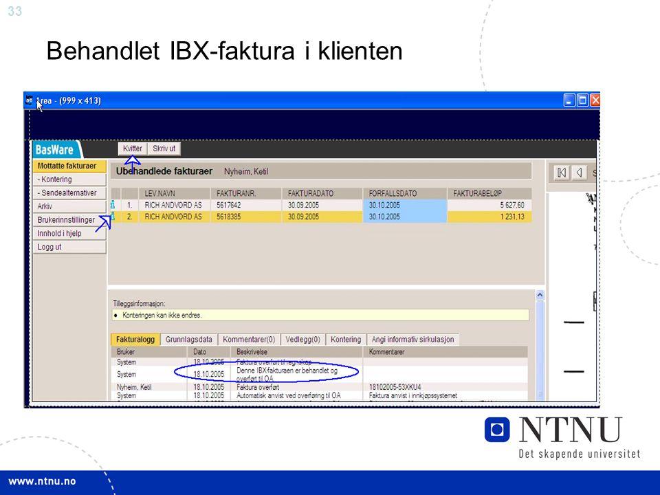 33 Behandlet IBX-faktura i klienten