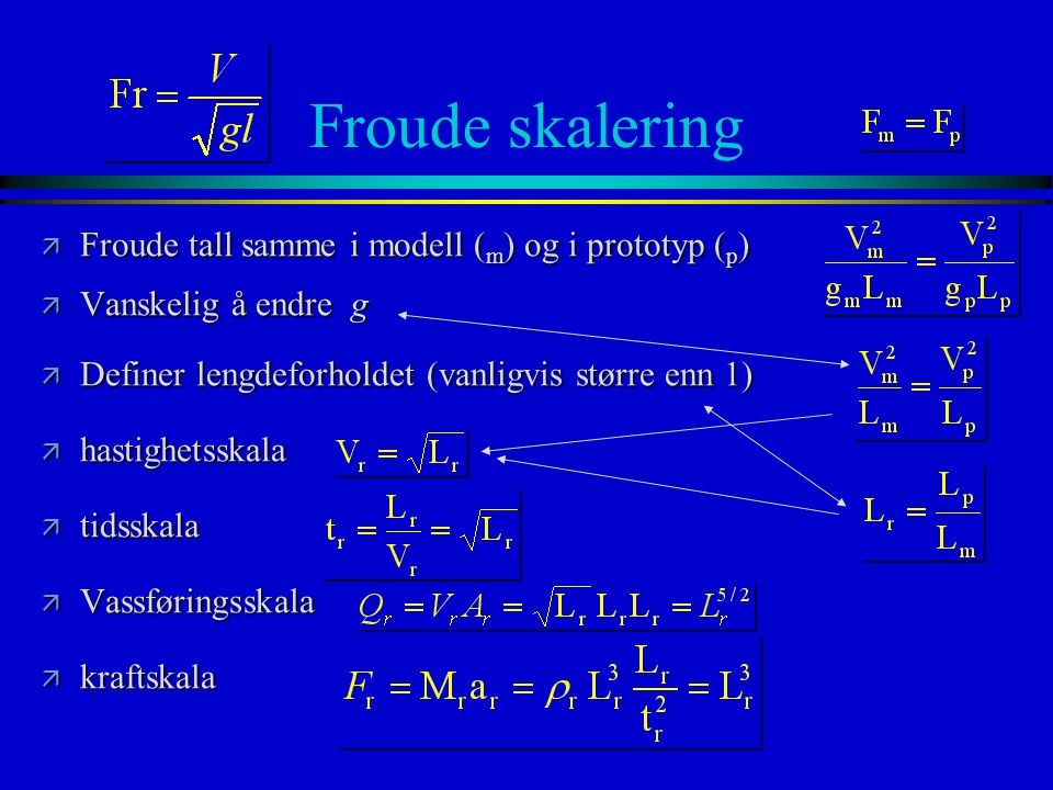 Froude skalering ä Froude tall samme i modell ( m ) og i prototyp ( p ) ä Vanskelig å endre g ä Definer lengdeforholdet (vanligvis større enn 1) ä has
