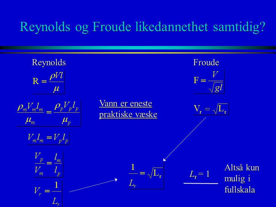 Reynolds og Froude likedannethet samtidig? ReynoldsFroude Vann er eneste praktiske væske L r = 1 Altså kun mulig i fullskala