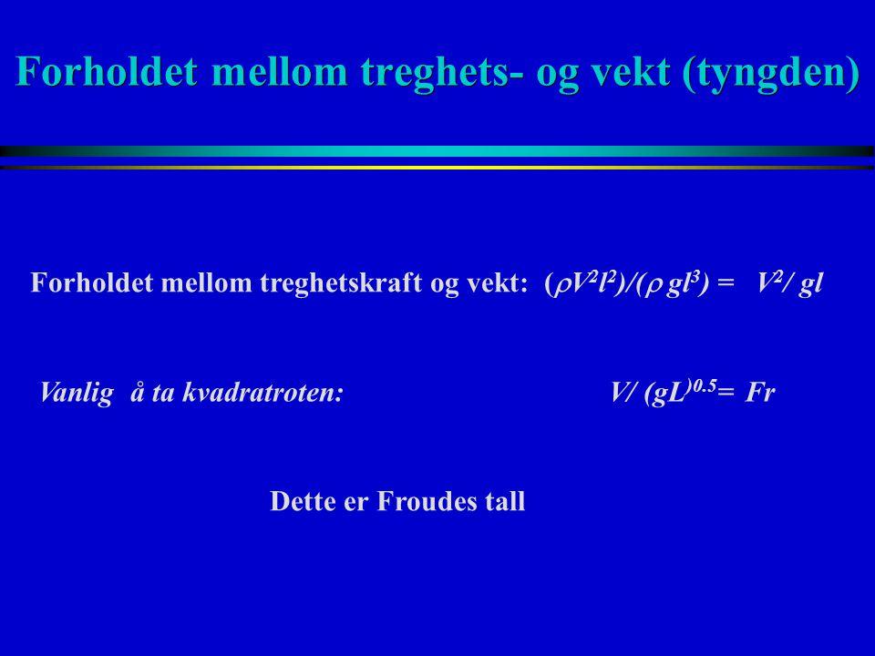 Forholdet mellom treghets- og vekt (tyngden) Vanlig å ta kvadratroten: V/ (gL )0.5 = Fr Forholdet mellom treghetskraft og vekt: (  V 2 l 2 )/(  gl 3