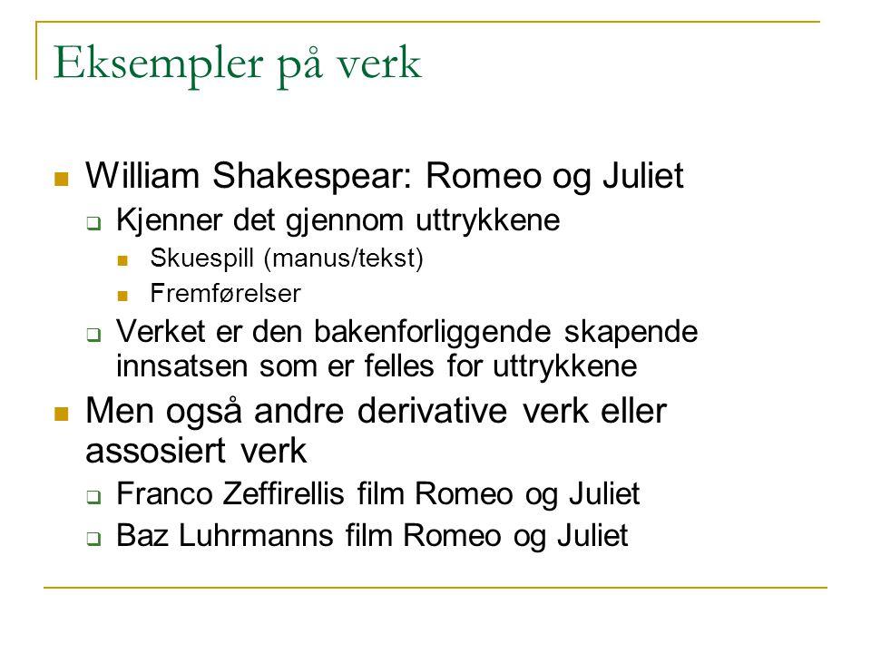 Eksempler på verk William Shakespear: Romeo og Juliet  Kjenner det gjennom uttrykkene Skuespill (manus/tekst) Fremførelser  Verket er den bakenforli