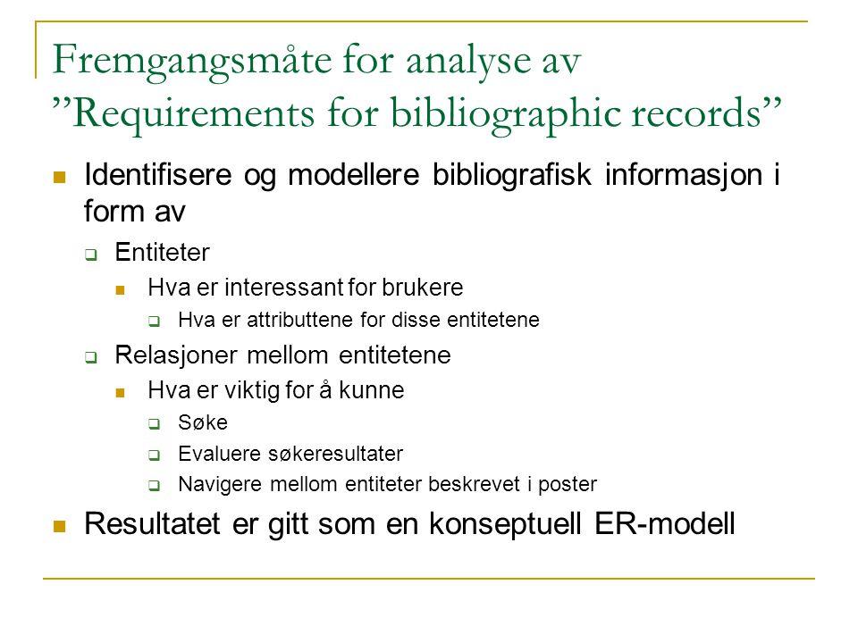 """Fremgangsmåte for analyse av """"Requirements for bibliographic records"""" Identifisere og modellere bibliografisk informasjon i form av  Entiteter Hva er"""