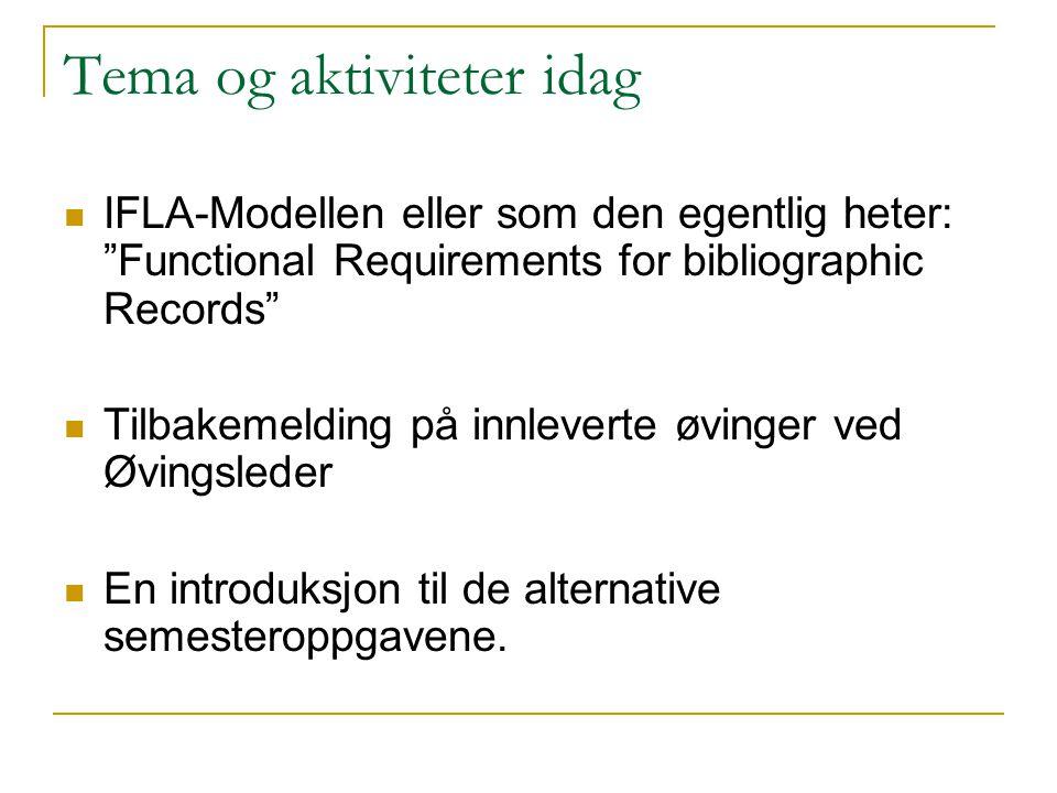 """Tema og aktiviteter idag IFLA-Modellen eller som den egentlig heter: """"Functional Requirements for bibliographic Records"""" Tilbakemelding på innleverte"""